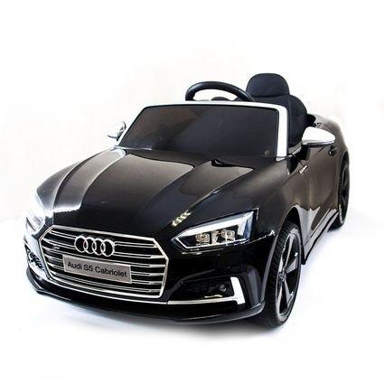Электромобиль Audi S5 Cabriolet LUXURY черный (колеса резина, сиденье кожа, пульт, музыка)